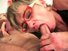 Granny and young man enjoying hot sex