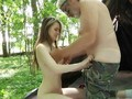 Big older cock fucking horny young pussy in the forest