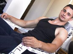 Fit muscular Latino jerking off