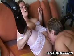 Amateur Milf with big tits sucks and fucks with cum