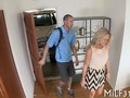 Hot blonde leads a young guy into her bedroom