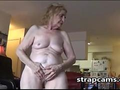 Old blonde Woman Plays With Her hairy weet pussy
