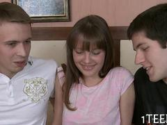 Teen cutie is in a threesome