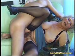 Mature hairy milf gives big cock a blow job