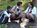 Nasty Asian schoolgirls getting wet together