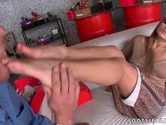 Blonde gets her pretty feet worshipped and fucked