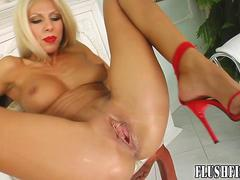 Self fisting play for dildo loving blonde