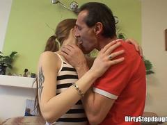 Skinny Teen Stepdaughter Deepthroats And Fucks Stepdad