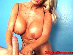 Monsterboobs granny tugging cock frantically