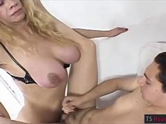 Busty mature shemale Ayme fucks cute guy in his asshole