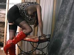 Sexy Milf Cindy loves to tease wearing sheer stockings and slutty red leather heeled boots