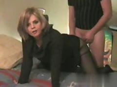 Big tits wife gets doggy style drilled in her pantyhose