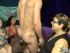 Chubby mature chicks suck a tattooed strippers cock off in the club
