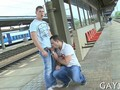 Sexy young guys suck dick and fuck at a train station