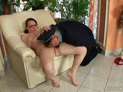 Grandpa and hot bitch pissing and fucking