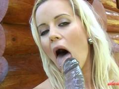 Hot Norway Blonde Outdoor Anal Fun With Huge Dilldo