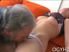 Little blonde lady in lingerie fucked by a old fatso