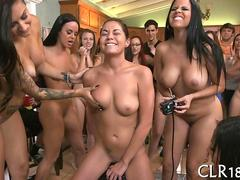 bunch of naked babes are trying out the Sybian