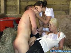 CFNM femdoms cockriding in threeway