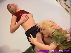 Mature woman feels young pussy