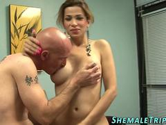 Latina shemale cums guy