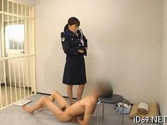 Female prison guard gets pussy licked by helpless Japanese prisoner