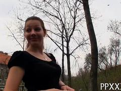 Sweet booty teen gets fucked in POV by a public euro agent