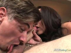 Vicky forces her husband to blow a cock