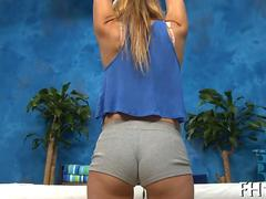 Hot teen blonde strips and teases in a massage parlor