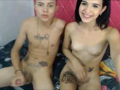 Shemale rides her bisexual lover on cam