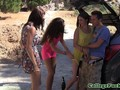 Euro college teens sucking cock outdoors