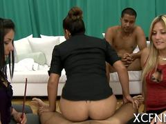 Dark dude fucking ethnic sluts during a cfnm party doggy style