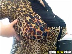 Big tits old whore teases with her milk bags on webcam