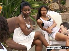 Black Dominatrix With Her White Slaves