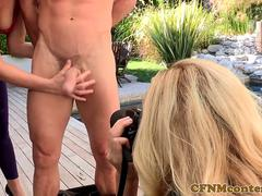 Femdom beauties punishing paparazzi pervert