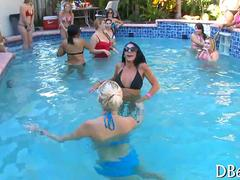 Bikini bitches get ass slapped with dick during pool party fun