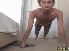 Sleep asian twink bukkake