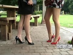 Show your loving of sexy stiletto girls Jenna and Iona beauty and appreciate their high heels