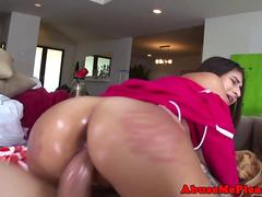 Big ass babe oiled up for deep hard cock ride