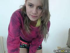 cute blonde teen on webcam has a awesome show