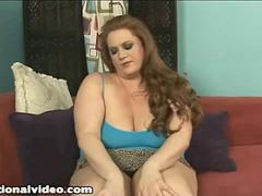 Redhead BBW Julie Ann More Slams Pussy With Dildo