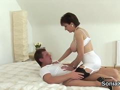 Unfaithful english milf lady sonia displays her big tits
