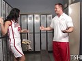 Handsome coach fucks a slutty brunette sport slut in the changing room