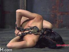 chained up bitch enjoys all the bondage experience