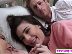 Pervert daddies fucked two pretty teen girls on the bed
