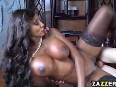 Diamond Jackson gets fuck doggystyle by a white cock