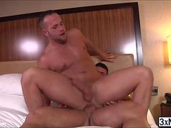 Hunk dudes Brad Banks and Luke Adams wasted no time in fucked each others ass