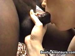 Busty amateur Fionas sucking and fucking black cock