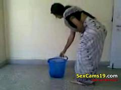 Indian wife is secretly filmed while cleaning house