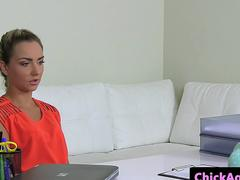 Beautiful agent sixtynines with casting babe